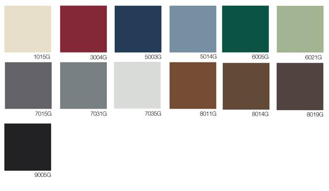 Toutes les couleurs disponibles pour fenêtre en aluminium