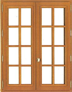 Fenêtre en bois  2 vantaux ouvrant à la française en chêne avec cadres rapportés en bois exotique