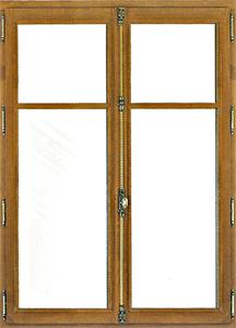 Fenêtre en bois double ou triple vitrage à 2 vantaux ouvrant à la française en chêne