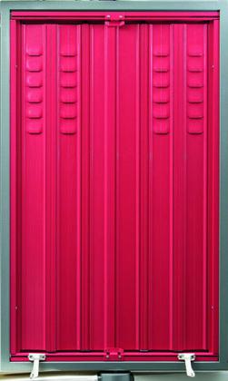 Jalousie en aluminium persiennée couleur rouge