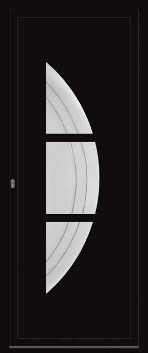 Porte d'entrée ALU noir avec vitrage décoratif